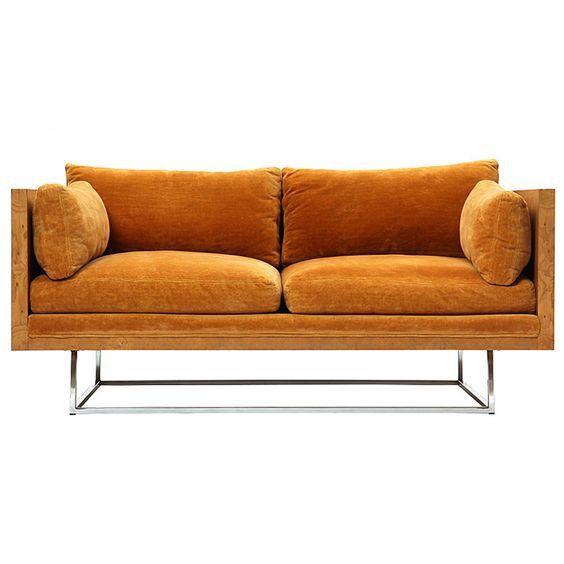 Burled sofa, Milo Baughman